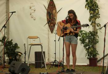 Claudia Stark playing at Sweet Home Fest Guildford, Taylor Guitars