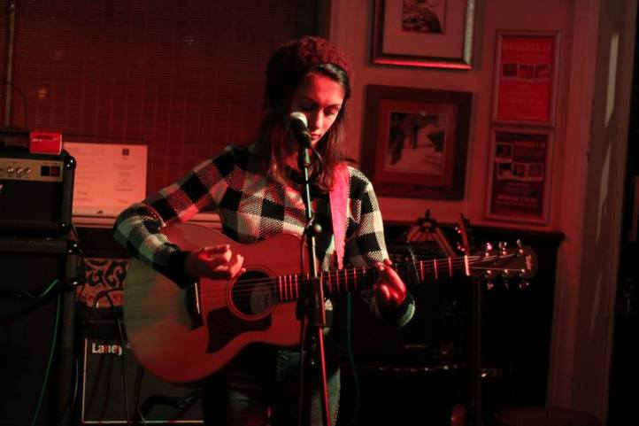 Claudia Stark playing at The Square Brewery Petersfield, Taylor Guitars